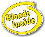 Funny Blonde Inside Slogan With Retro Style Novelty Design Vinyl Car Sticker Decal 105x85mm
